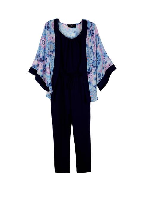 Girls 7-16 Kimono Over Knit Jumpsuit