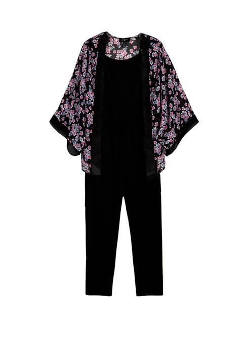 Amy Byer Girls 7-16 Kimono Over Knit Jumpsuit