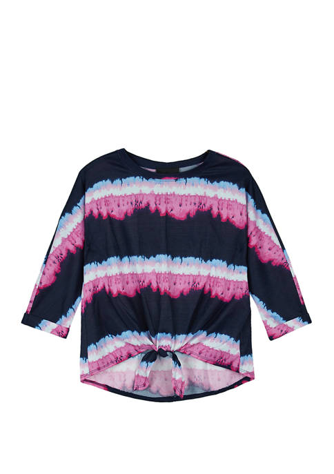 Amy Byer Girls 7-16 Tiedye Tiefront Knit Top