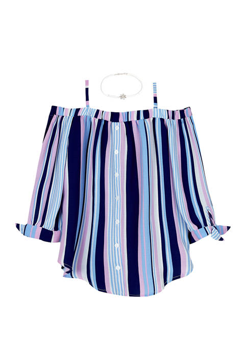 Amy Byer Girls 7-16 Off the Shoulder Stripe