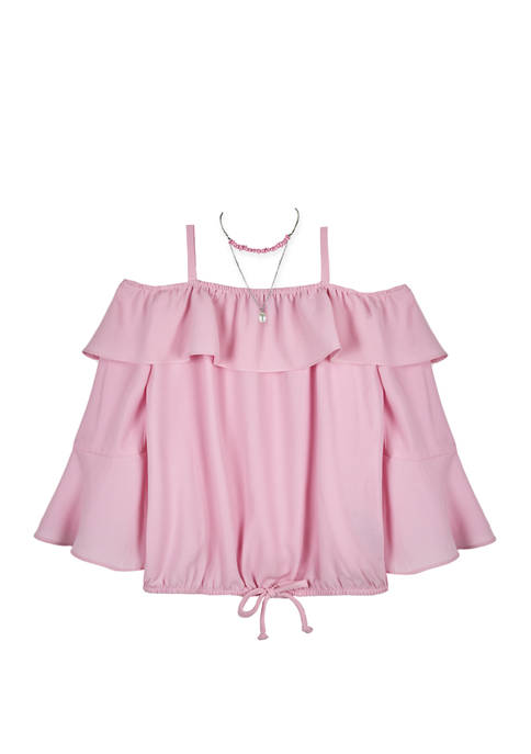 Amy Byer Girls 7-16 Off the Shoulder Tie
