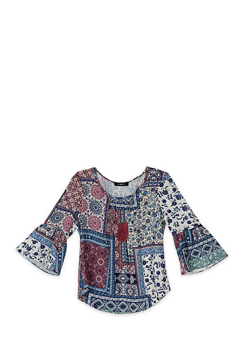 Amy Byer Girls 7-16 Patch Print Woven Top