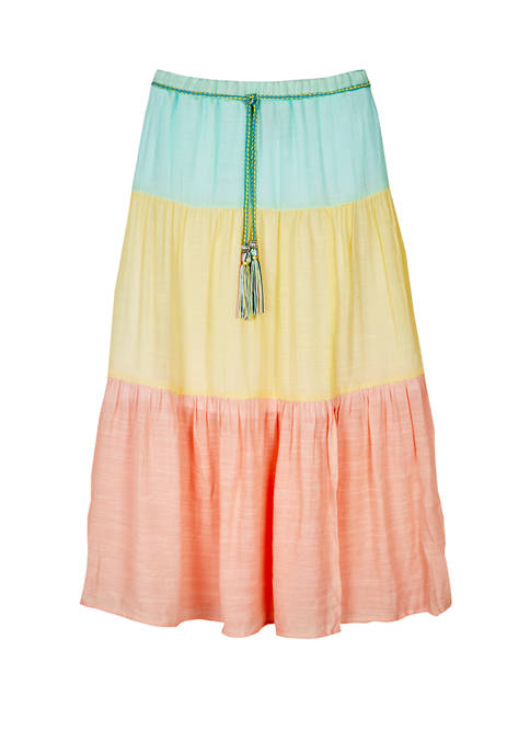 Amy Byer Girls 7-16 Color Block Gauze Tiered