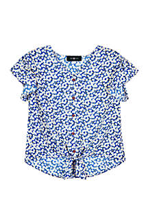 Amy Byer Girls 7-16 Blue Floral Woven Tie Front Top