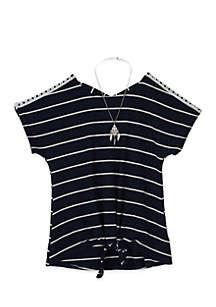 Girls 7-16 Short Sleeve Rib Stripe X-Back by Amy Byer