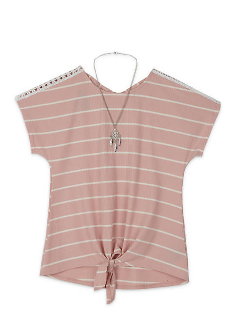 Girls 7-16 Short Sleeve Rib Stripe X-Back by