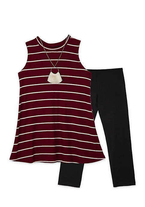 Amy Byer Girls 7-16 2-Piece Mock Neck Striped