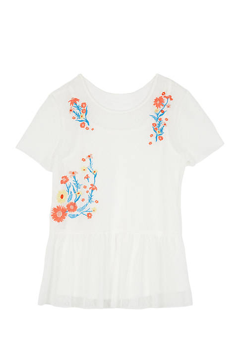 Amy Byer Embroidered Point dEsprit Peplum Tee Shirt