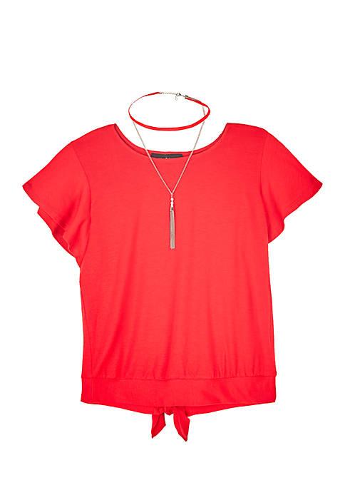 Girls 7-16 Red Flutter Sleeve Back Tie Top
