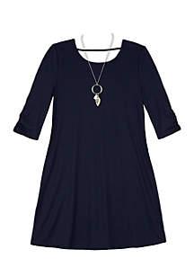 Girls 7-16 3/4 Sleeve Knit Swing Lace Back dress