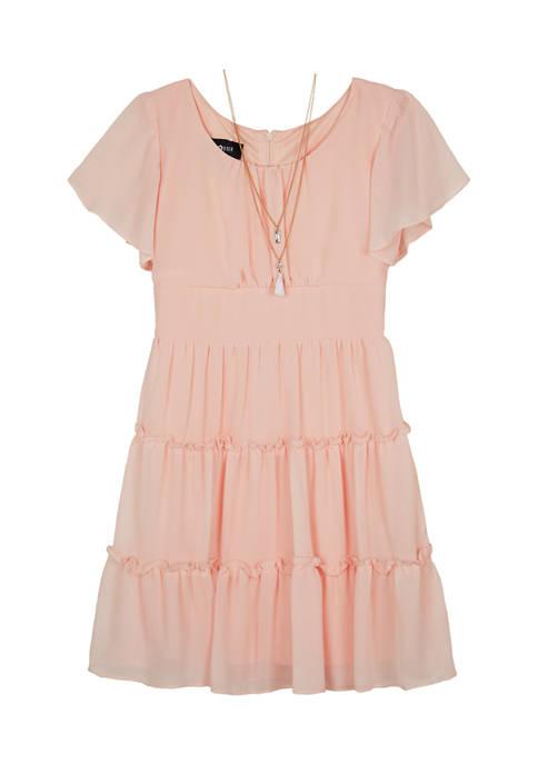 Amy Byer Girls 7-16 Short Sleeve Tiered Dress
