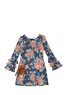 Girls 7-16 Floral Triple Bell Sleeve Purse Dress