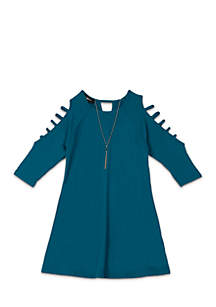 Girls 7-16 Three-Quarter Cage Sleeve Solid Swing Dress