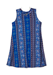 Girls 7-16 Vertical Wallpaper Mock Knit Dress