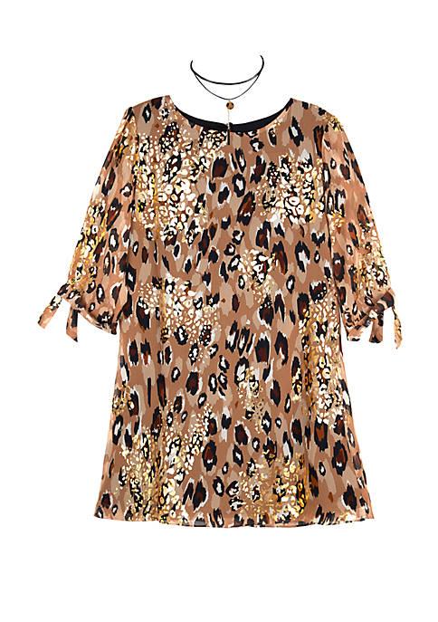 Amy Byer Girls 7-16 Long Sleeve Cheetah Print