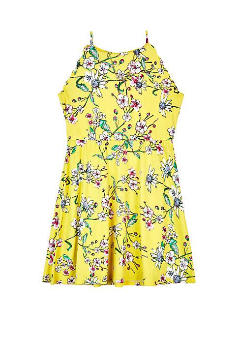 Girls 7-16 Scallop Sleeve Floral Print Knit Dress