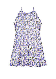 Amy Byer Girls 7-16 Scallop Sleeve Floral Print Knit Dress