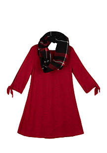 Girls 7-16 Fuzzy Knit Swing Scarf Dress