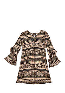 Girls 7-16 Bell Sleeve Aztec Foil Shift Dress