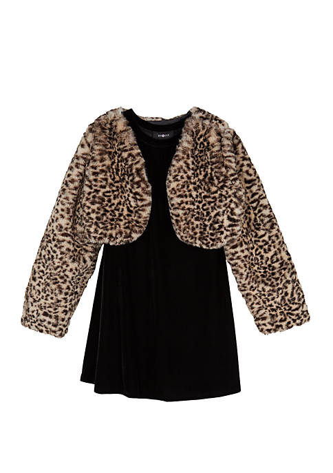 Amy Byer Girls 7-16 Cheetah Fuzzy Jacket Dress