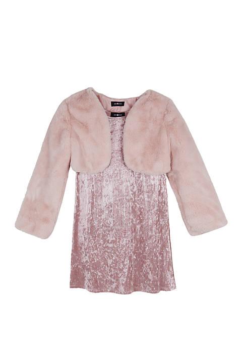 Amy Byer Girls 7-16 Blush Fuzzy Jacket Dress