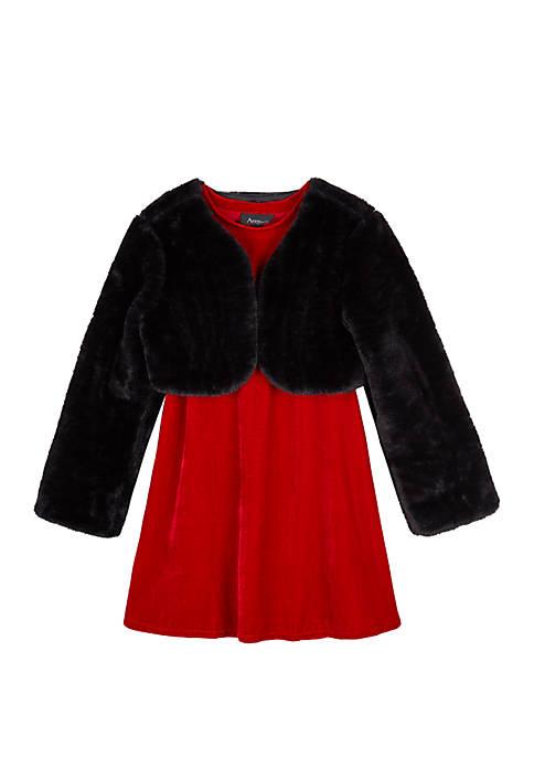 Amy Byer Girls 7-16 Fuzzy Jacket Dress