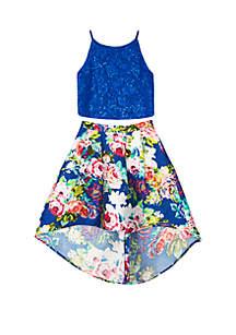 Amy Byer Girls 7-16 2-Piece Cobalt Lace Floral Skirt Set