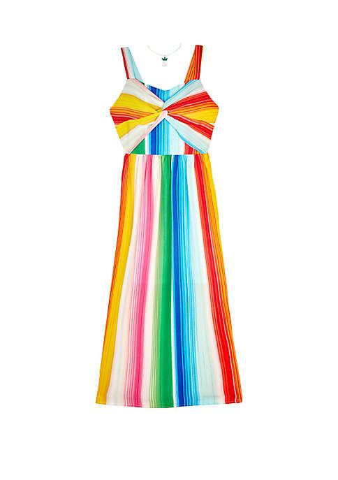 Girls 7-16 Multi Stripe Knot Front Maxi Dress