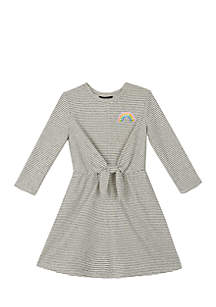 Girls 7-16 Long Sleeve Knot Front Stripe Dress
