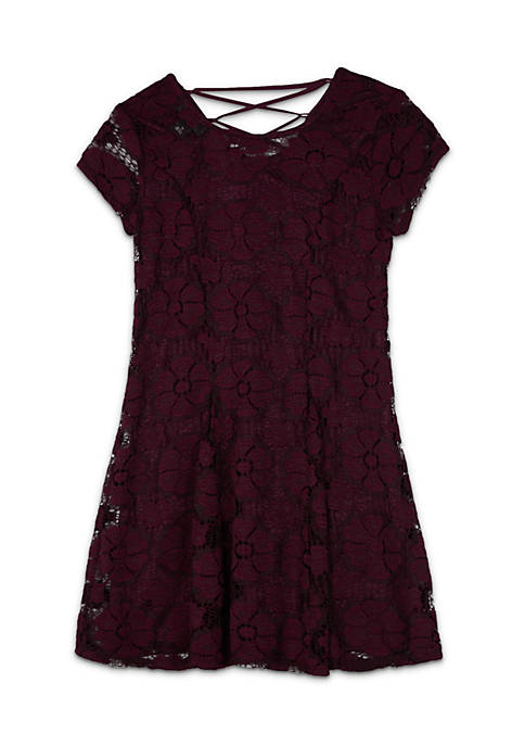 Amy Byer Girls 7-16 Short Sleeve Allover Lace