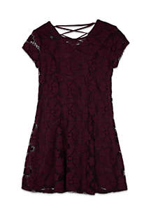 Girls 7-16 Short Sleeve Allover Lace Fit-And-Flare Dress