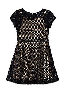 Girls 7-16 Short Sleeve Crochet Lace Skater Dress