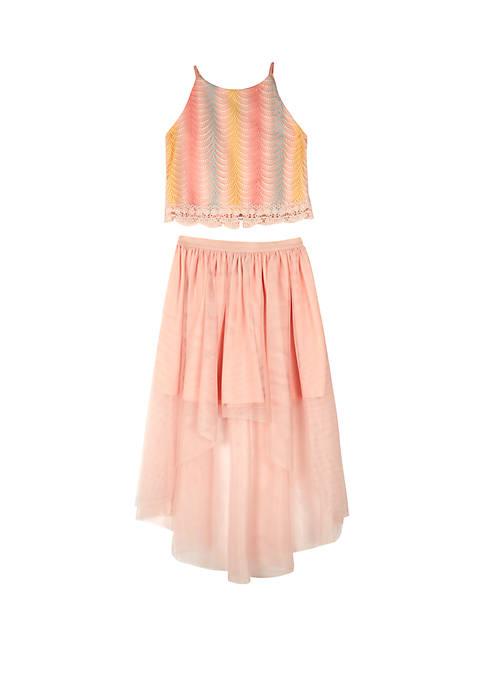Amy Byer Girls 7-16 2-Piece Blush Rainbow Skirt