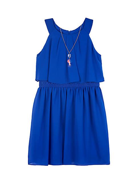 Girls 7-16 Cobalt Popover Dress