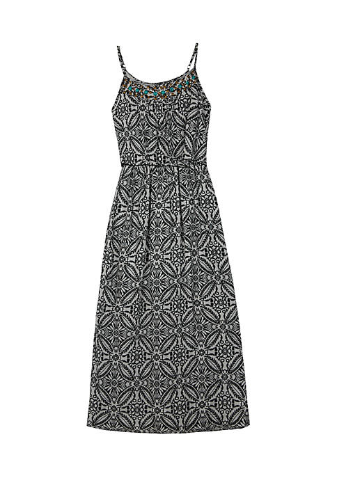 Amy Byer Black and White Print Popover Maxi