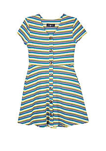 Amy Byer Girls 7-16 Green and Yellow Stripe Rib Knit Skater Dress
