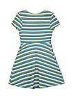 Girls 7-16 Green and Yellow Stripe Rib Knit Skater Dress