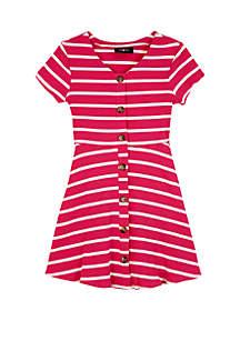 Amy Byer Girls 7-16 Short Sleeve Rib Knit Stripe Skater Dress