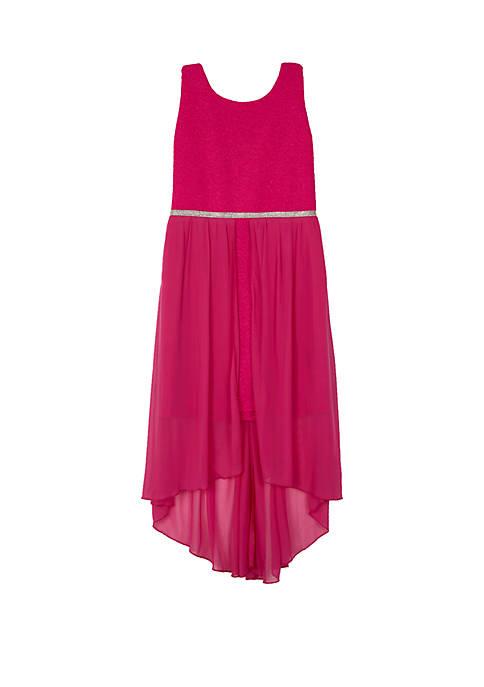 Amy Byer Girls 7-16 Fuchsia Glitter Skirted Dress