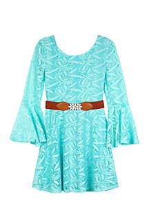 Girls 7-16 Long Sleeve Belted Skater Dress