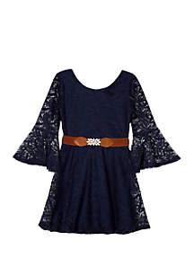 Girls 7-16 Long Sleeve Belted Skater Dress