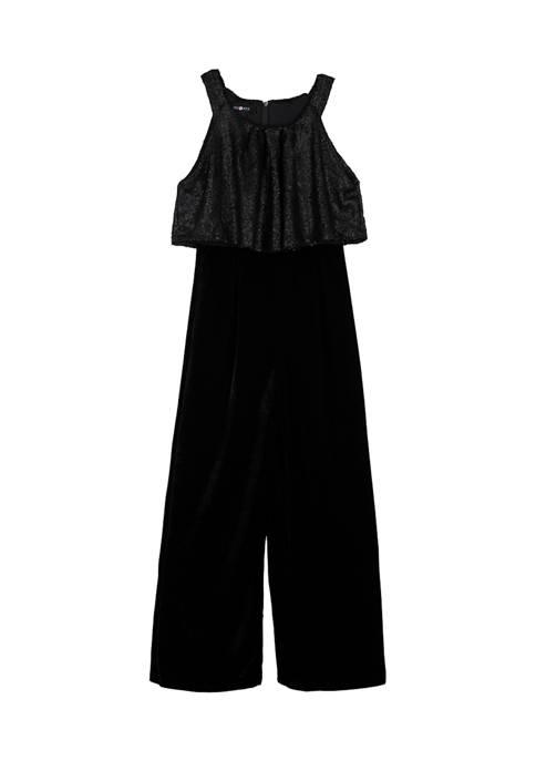 Amy Byer Girls 7-16 Velvet Popover Jumpsuit
