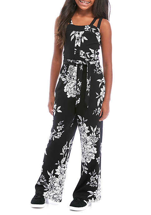 Amy Byer Girls 7-16 Sleeveless Knit Floral Jumpsuit