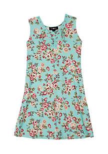Girls 7-16 Paisley Knit Lace-Up Dress