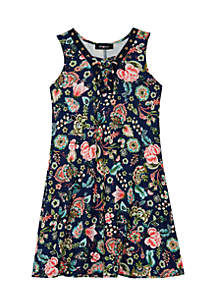 Girls 7-16 Paisley Knit Lace-Up Dress