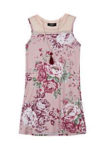 Girls 7-16 Rose Floral Illusion Knit Dress