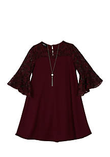 Girls 7-16 Wine Glitter Lace Bell Sleeve Ponte A-line Dress