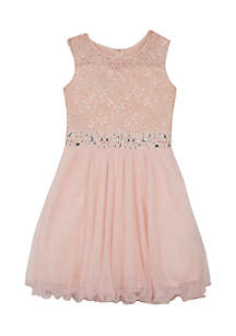 Girls 7-16 Blush Glitter Lace Mesh Short Dress