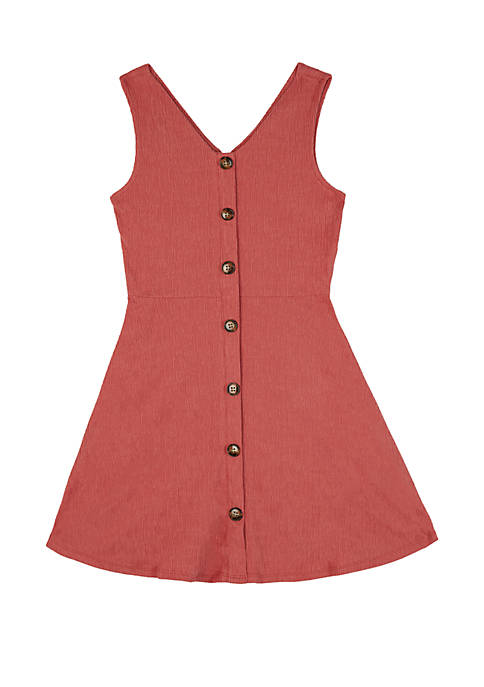 Amy Byer Girls 7-16 Coral Button Front Skater