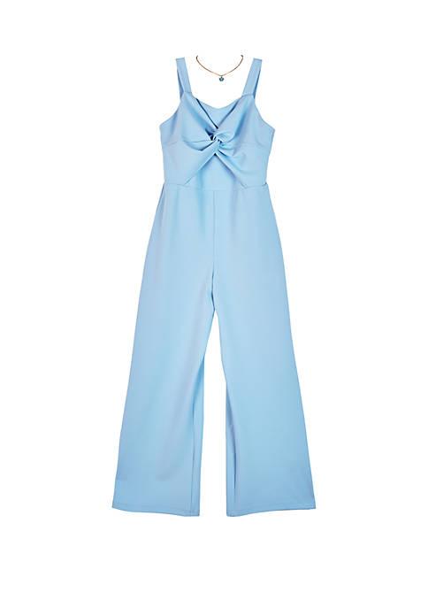 Girls 7-16 Periwinkle Knot Front Jumpsuit